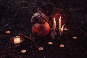 velas y calabazas samhain