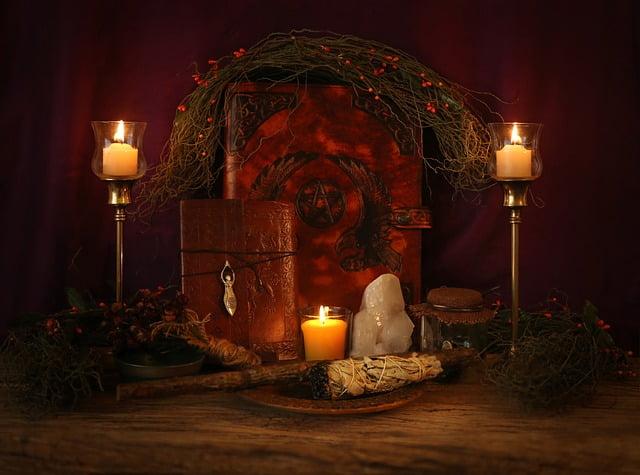 altar samhain con velas
