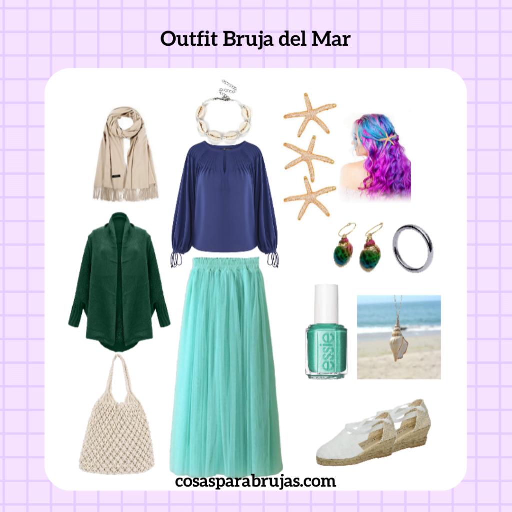 outfit bruja del mar verde y azul