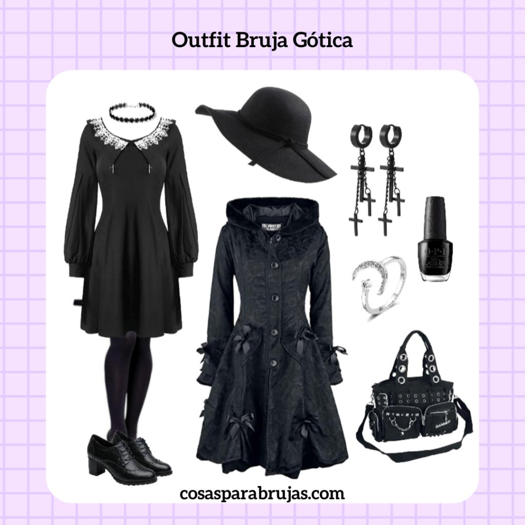 outfit de bruja gótica estilo sabrina
