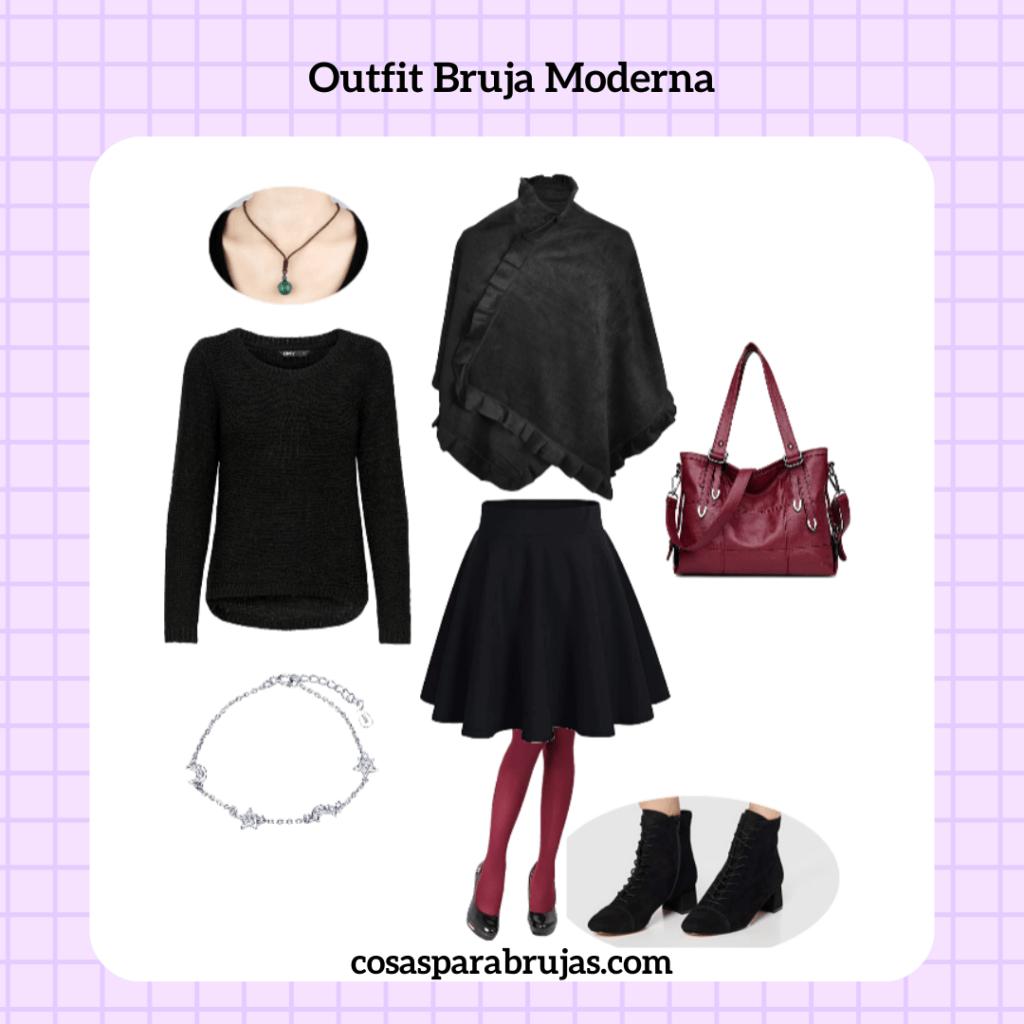 outfit bruja moderna negro y rojo